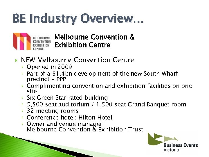 BE Industry Overview. . . Melbourne Convention & Exhibition Centre NEW Melbourne Convention Centre