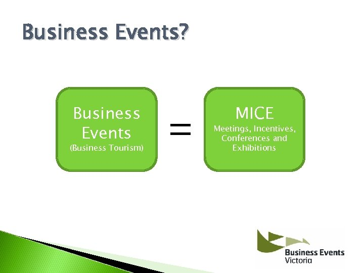 Business Events? Business Events (Business Tourism) MICE Meetings, Incentives, Conferences and Exhibitions