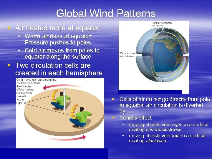 Global Wind Patterns § Air heated more at equator • Warm air rises at