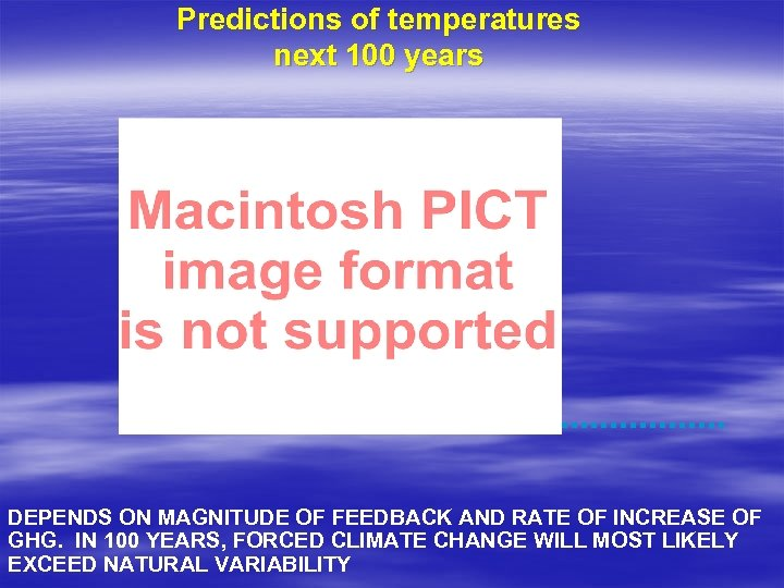 Predictions of temperatures next 100 years DEPENDS ON MAGNITUDE OF FEEDBACK AND RATE OF