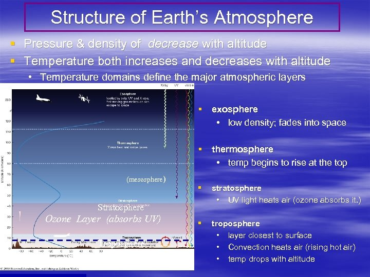 Structure of Earth's Atmosphere § Pressure & density of decrease with altitude § Temperature