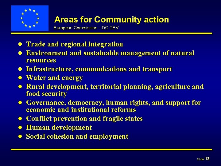 Areas for Community action European Commission – DG DEV ● ● ● ● ●