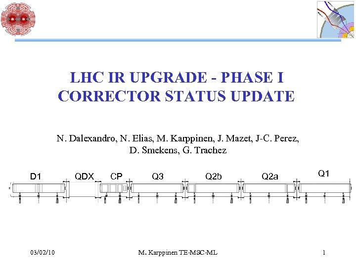 LHC IR UPGRADE - PHASE I CORRECTOR STATUS UPDATE N. Dalexandro, N. Elias, M.