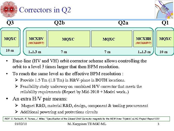 Correctors in Q 2 Q 3 Q 2 b MQXC MCXBV (MCXBHV? ) 10