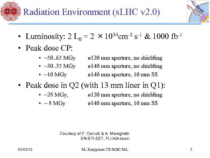Radiation Environment (s. LHC v 2. 0) • Luminosity: 2 L 0 = 2