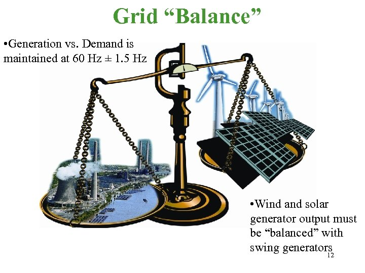 "Grid ""Balance"" • Generation vs. Demand is maintained at 60 Hz ± 1. 5"