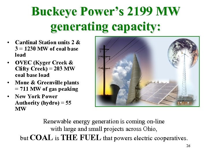 Buckeye Power's 2199 MW generating capacity: • Cardinal Station units 2 & 3 =