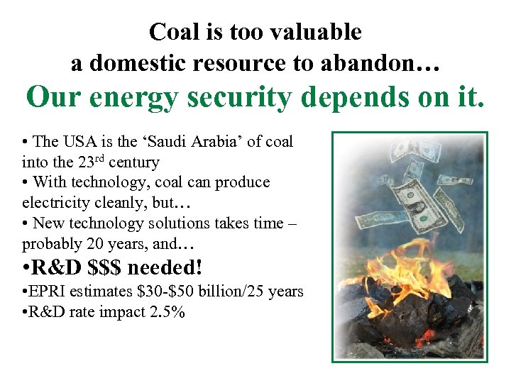 Coal is too valuable a domestic resource to abandon… Our energy security depends on