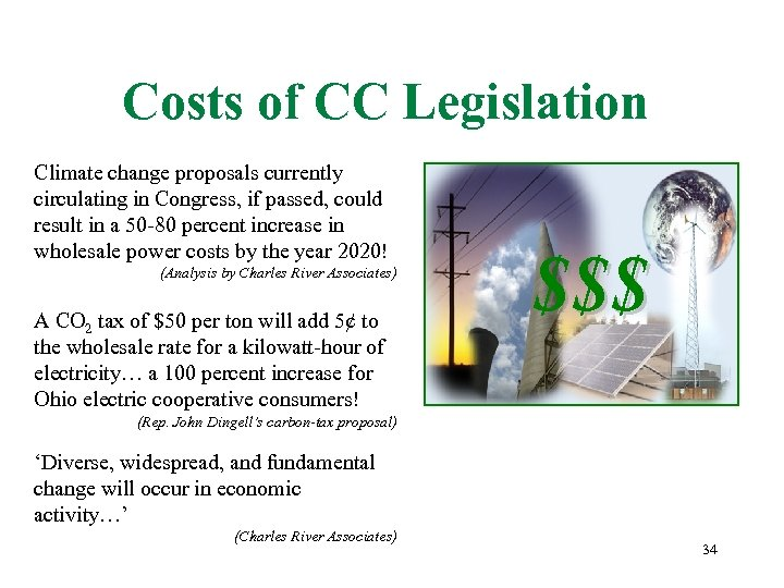 Costs of CC Legislation Climate change proposals currently circulating in Congress, if passed, could