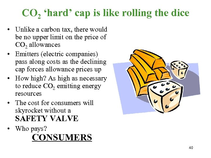 CO 2 'hard' cap is like rolling the dice • Unlike a carbon tax,
