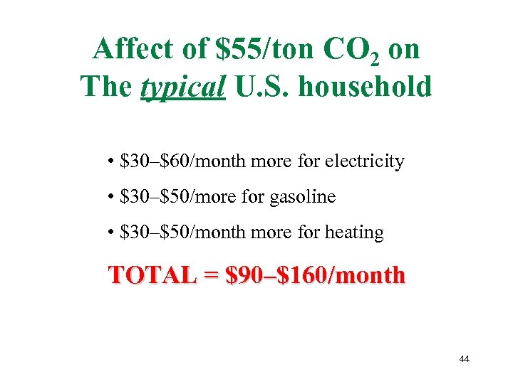 Affect of $55/ton CO 2 on The typical U. S. household • $30–$60/month more