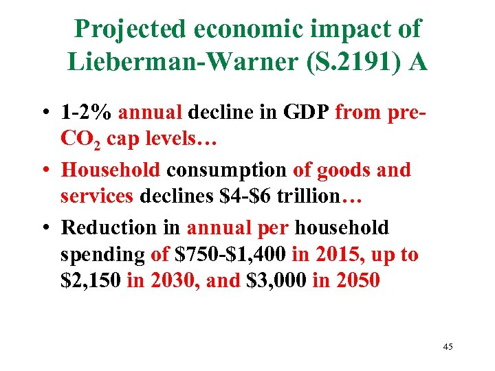 Projected economic impact of Lieberman-Warner (S. 2191) A • 1 -2% annual decline in