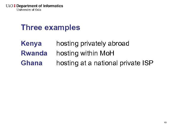 Three examples Kenya Rwanda Ghana hosting privately abroad hosting within Mo. H hosting at