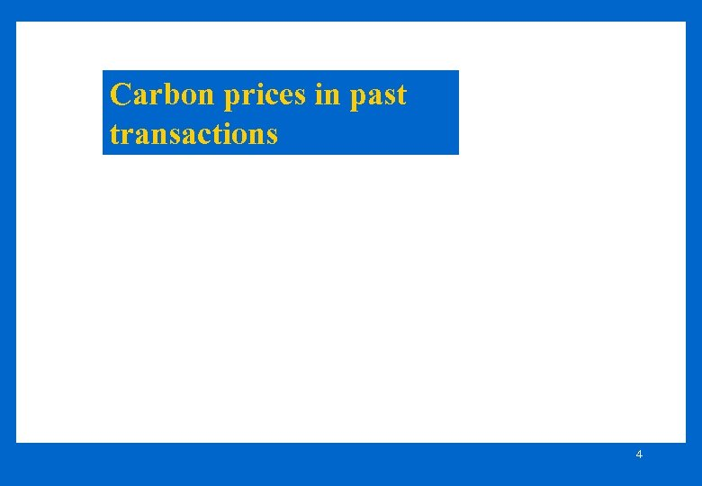 Carbon prices in past transactions 4