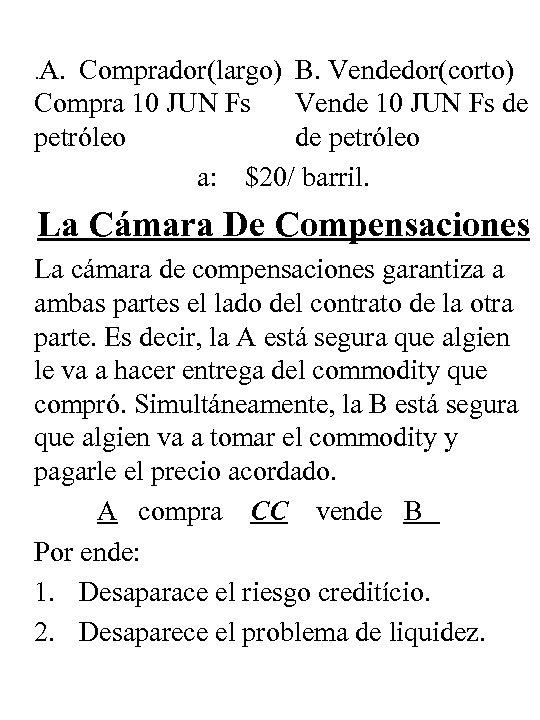 . A. Comprador(largo) B. Vendedor(corto) Compra 10 JUN Fs Vende 10 JUN Fs de