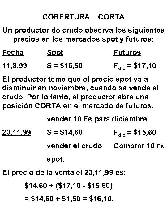 COBERTURA CORTA Un productor de crudo observa los siguientes precios en los mercados spot