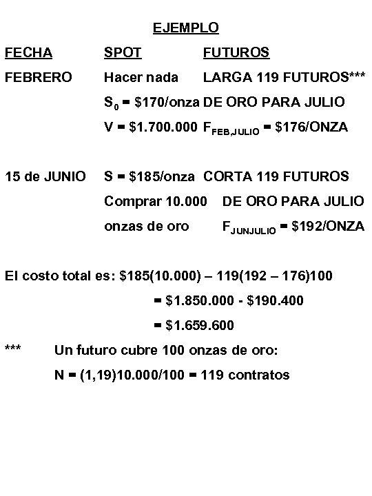 EJEMPLO FECHA SPOT FUTUROS FEBRERO Hacer nada LARGA 119 FUTUROS*** S 0 = $170/onza