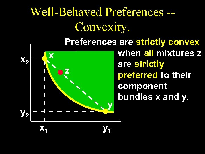 Well-Behaved Preferences -Convexity. x x 2 y 2 x 1 Preferences are strictly convex