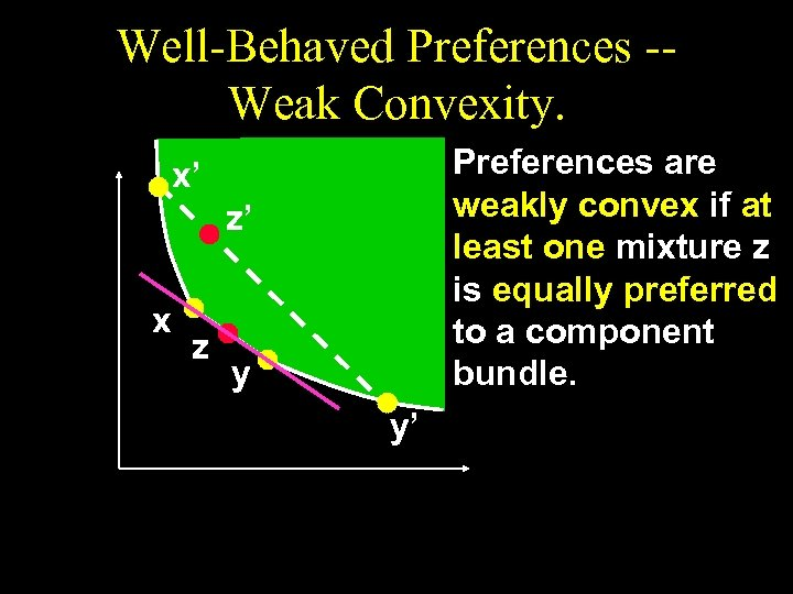 Well-Behaved Preferences -Weak Convexity. Preferences are weakly convex if at least one mixture z