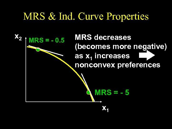 MRS & Ind. Curve Properties x 2 MRS = - 0. 5 MRS decreases