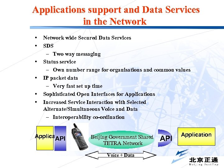 Applications support and Data Services in the Network • • • Network wide Secured