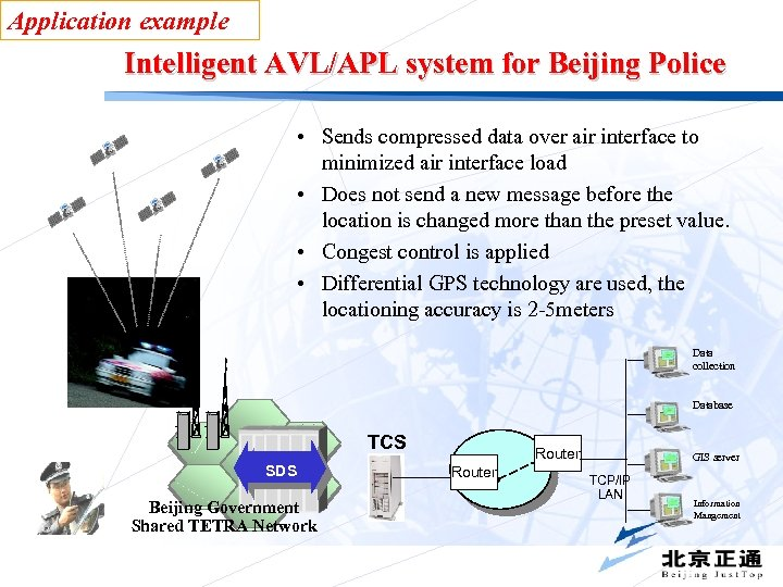 Application example Intelligent AVL/APL system for Beijing Police • Sends compressed data over air