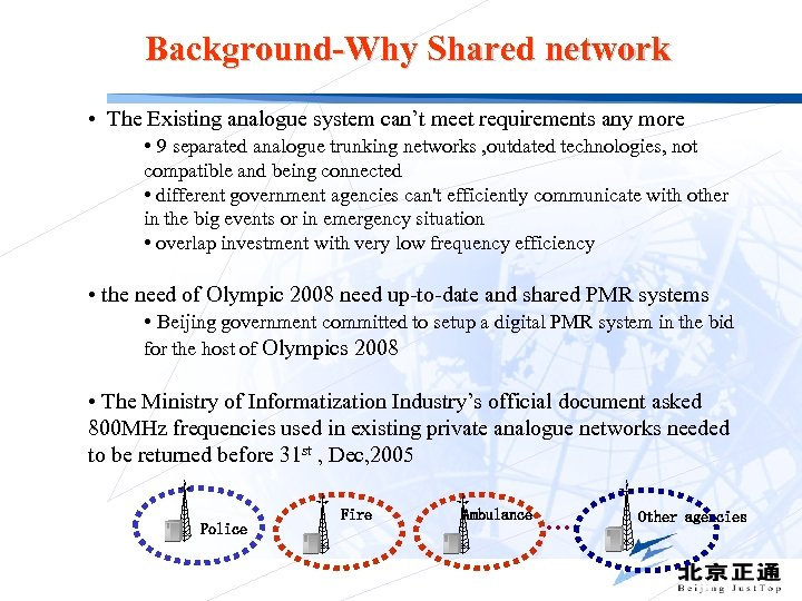 Background-Why Shared network • The Existing analogue system can't meet requirements any more •