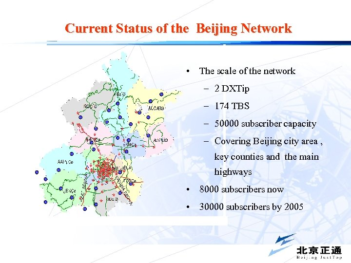 Current Status of the Beijing Network • The scale of the network – 2