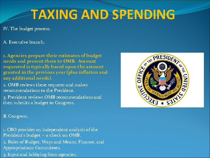 TAXING AND SPENDING IV. The budget process. A. Executive branch. 1. Agencies prepare their