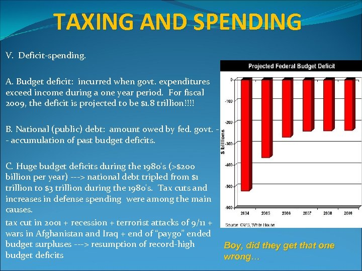 TAXING AND SPENDING V. Deficit-spending. A. Budget deficit: incurred when govt. expenditures exceed income