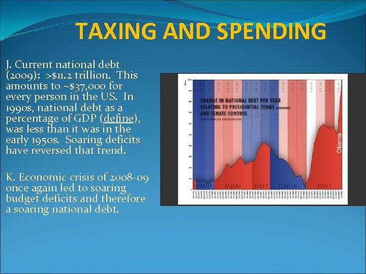 TAXING AND SPENDING J. Current national debt (2009): >$11. 2 trillion. This amounts to