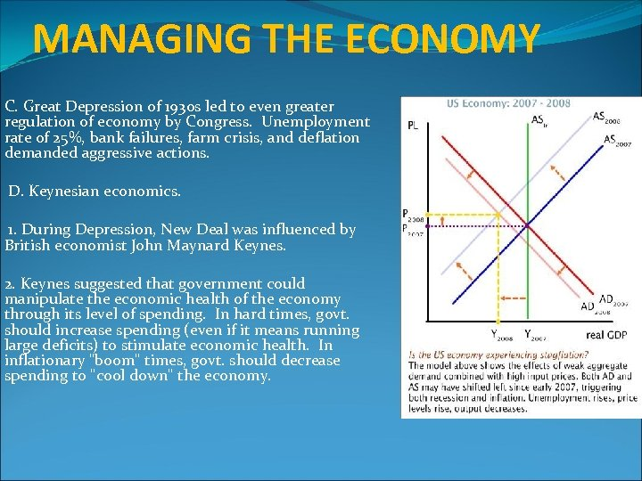 MANAGING THE ECONOMY C. Great Depression of 1930 s led to even greater regulation