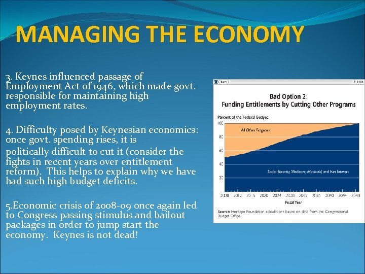 MANAGING THE ECONOMY 3. Keynes influenced passage of Employment Act of 1946, which made