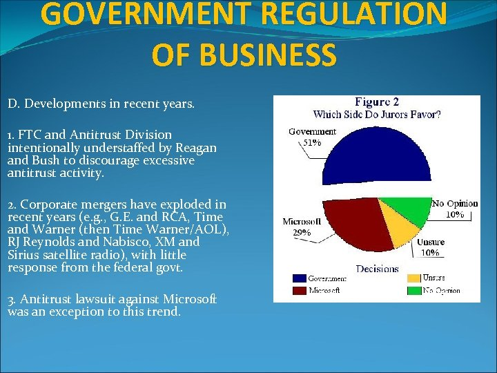 GOVERNMENT REGULATION OF BUSINESS D. Developments in recent years. 1. FTC and Antitrust Division