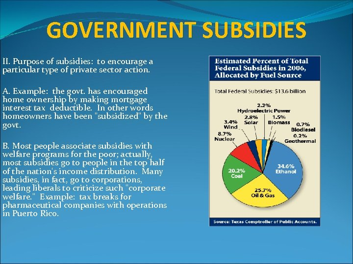 GOVERNMENT SUBSIDIES II. Purpose of subsidies: to encourage a particular type of private sector