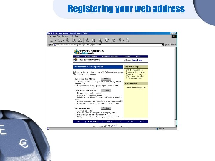 Registering your web address
