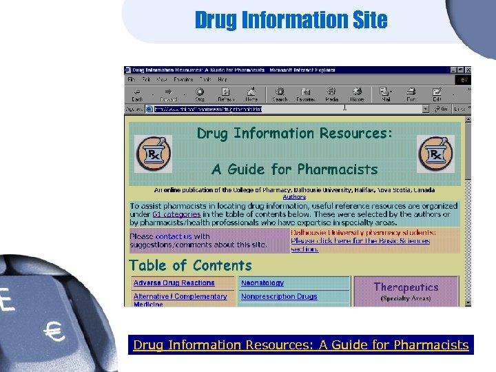 Drug Information Site Drug Information Resources: A Guide for Pharmacists