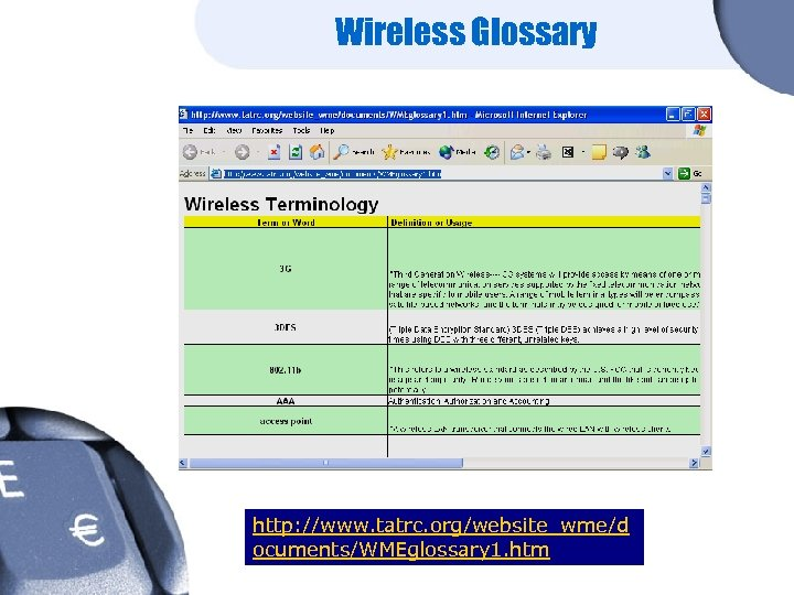Wireless Glossary http: //www. tatrc. org/website_wme/d ocuments/WMEglossary 1. htm