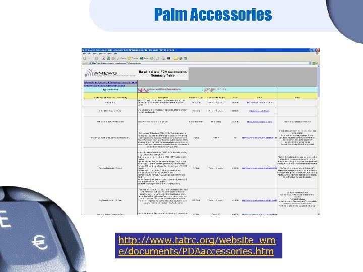 Palm Accessories http: //www. tatrc. org/website_wm e/documents/PDAaccessories. htm