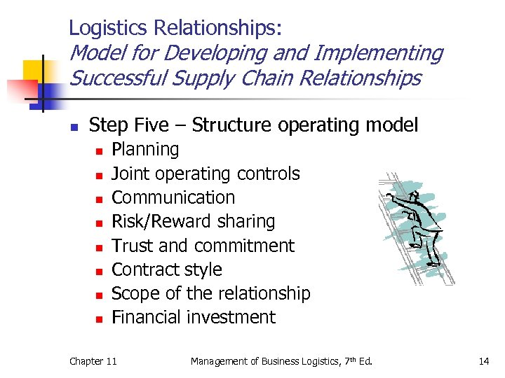 Logistics Relationships: Model for Developing and Implementing Successful Supply Chain Relationships n Step Five