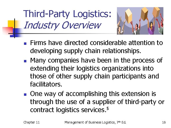 Third-Party Logistics: Industry Overview n n n Firms have directed considerable attention to developing
