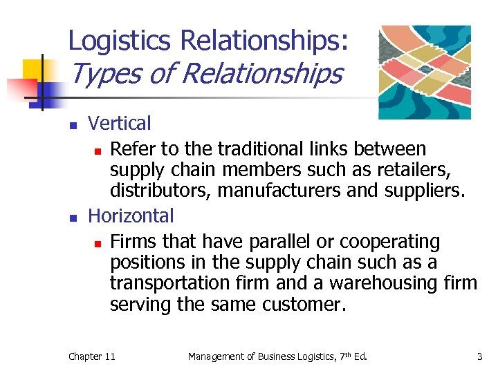 Logistics Relationships: Types of Relationships n n Vertical n Refer to the traditional links