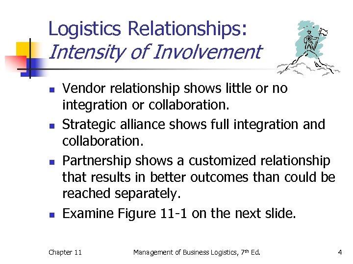 Logistics Relationships: Intensity of Involvement n n Vendor relationship shows little or no integration