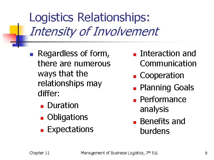 Logistics Relationships: Intensity of Involvement n Regardless of form, there are numerous ways that