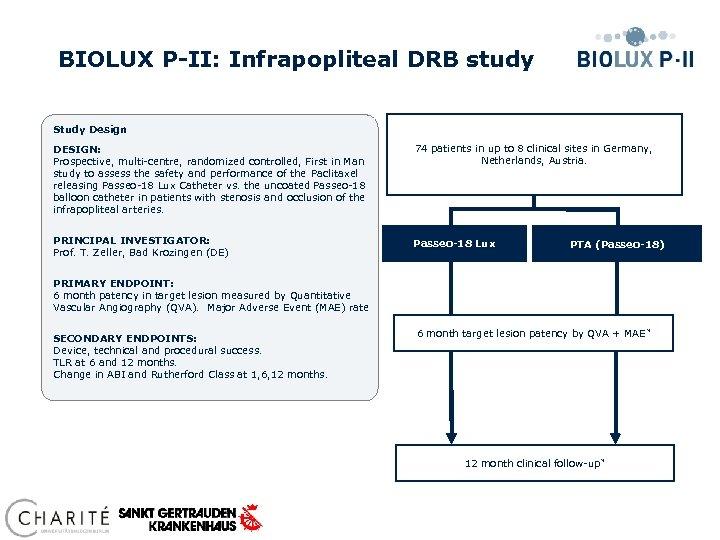 BIOLUX P-II: Infrapopliteal DRB study Study Design DESIGN: Prospective, multi-centre, randomized controlled, First in
