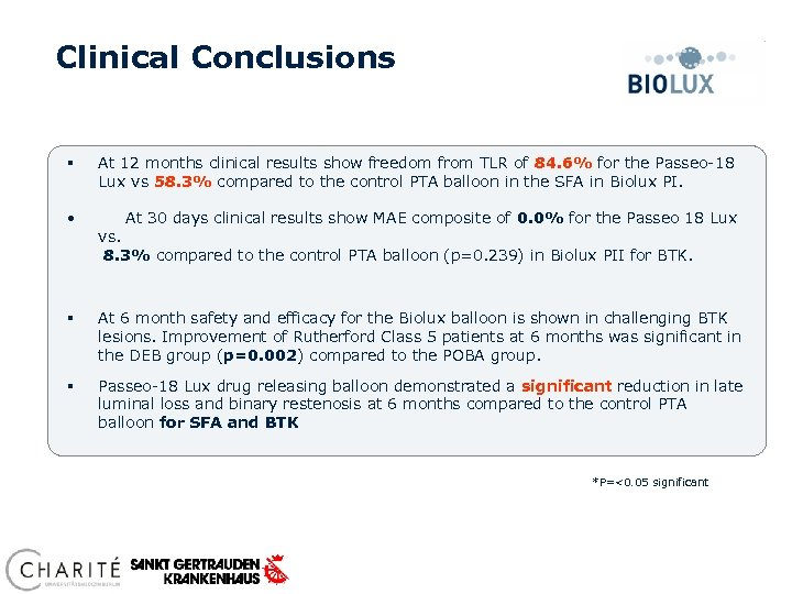 Clinical Conclusions § At 12 months clinical results show freedom from TLR of 84.
