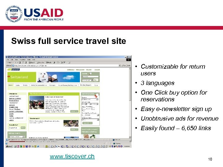 Swiss full service travel site • Customizable for return users • 3 languages •