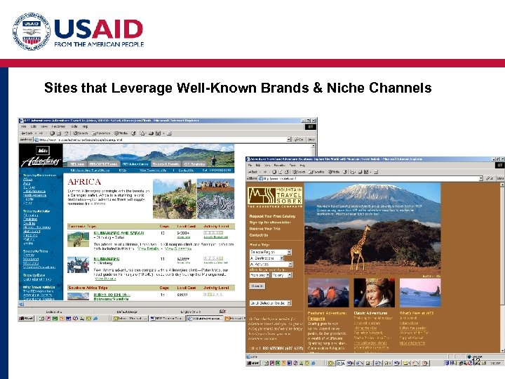 Sites that Leverage Well-Known Brands & Niche Channels 12