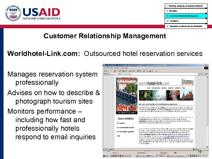 I. Selecting, designing, developing destination II. Marketing III. Customer Relationship Management IV. Operations V.