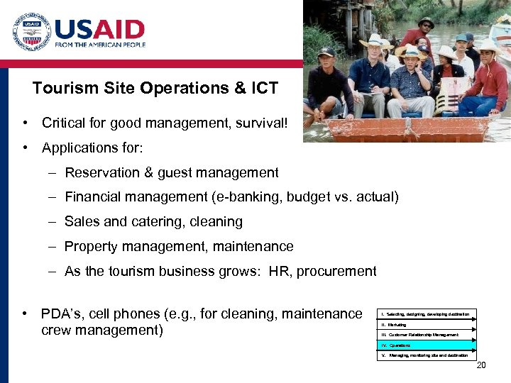 Tourism Site Operations & ICT • Critical for good management, survival! • Applications for: